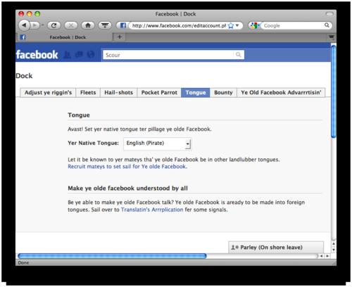 Facebook Edit Account page